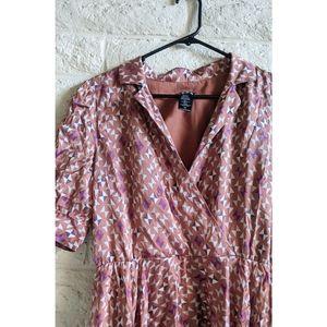 BCBG Paris | silk 50's collared geometric dress